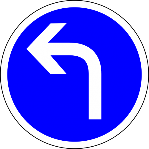 traffic sign turn ahead turn left
