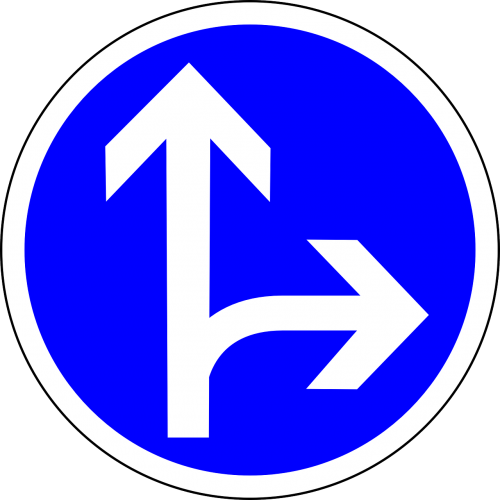 traffic sign sign go straight or right