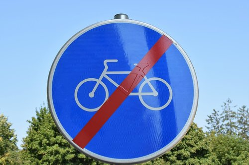traffic sign  finished road for bicycles  street