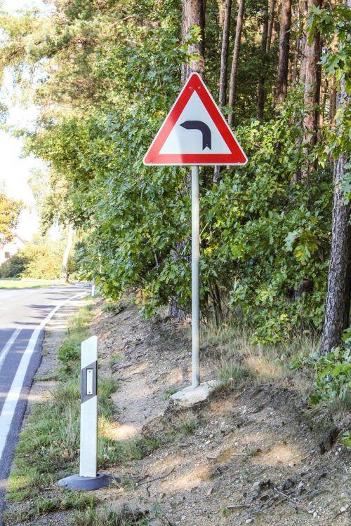 traffic sign curve street sign