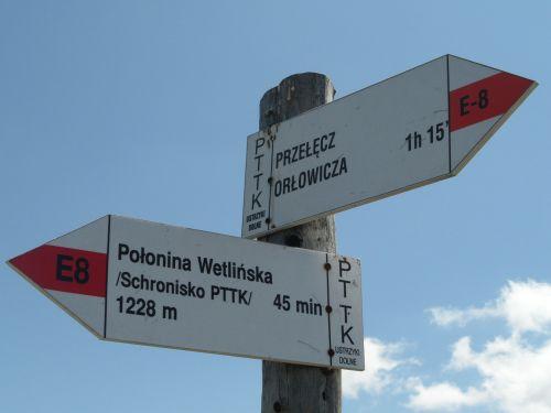 trail signpost bieszczady