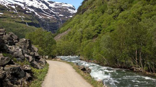 takas, Dviračių takas, upė, kraštovaizdis, gamta, gamtos takas, komercinis kelias, Norvegija