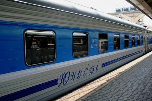 train bright blue and silver russian