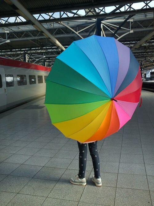 train umbrella rainbow