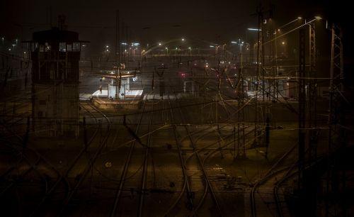 train railway station night