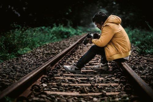 train track  traveller  yellow