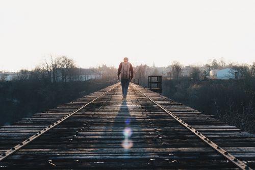 train tracks walking journey