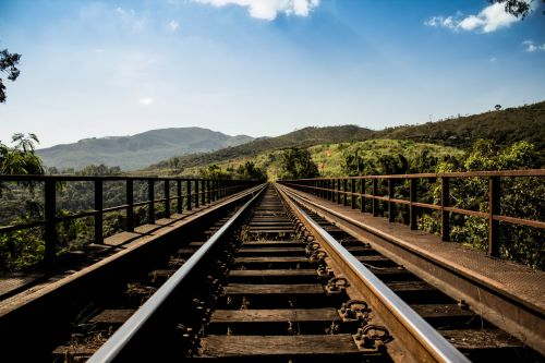 Train Tracks Into Distance