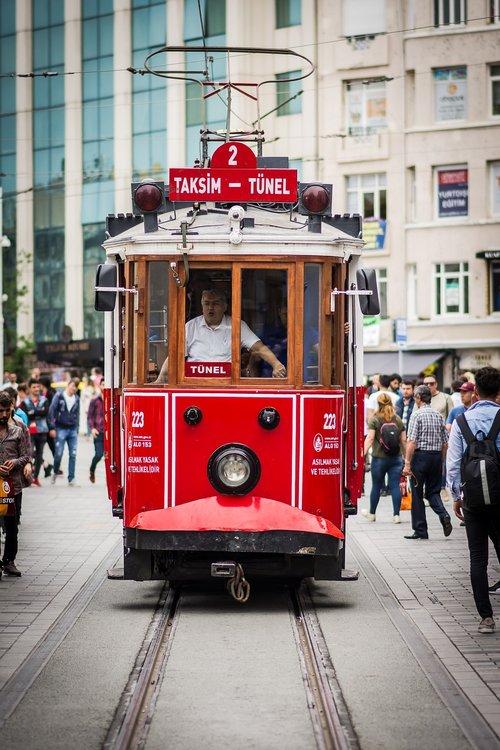 tram  taksim square  city