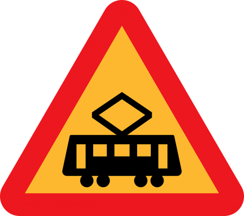 tram crossing street car crossing trolley crossing