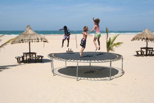 trampoline children playing