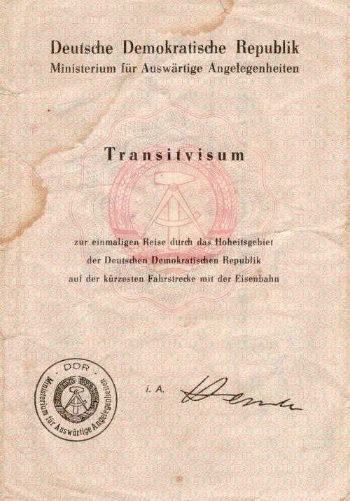 transit visa ddr old paper
