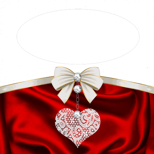 transparent frame  red satin  sides heart