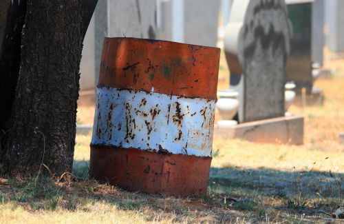 Trash Can In Cemetery