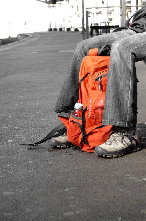 travel,backpack,rucksack,people,feet,shoes,orange,path,waiting,target,travel
