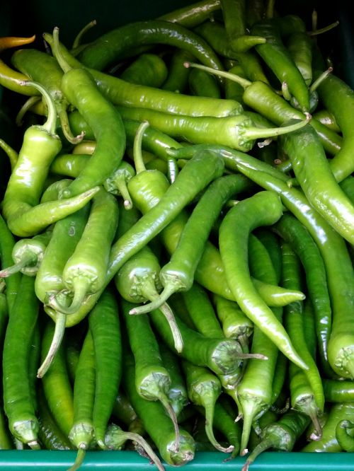 Tray Of Green Chillies