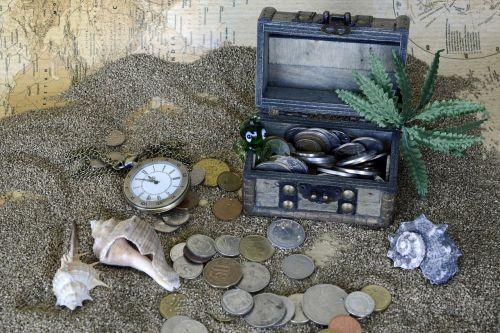 treasure chest sand pocket watch