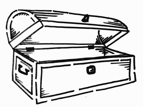 treasure chest black and white line drawing