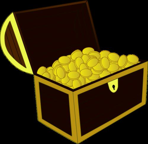 treasure chest gold open