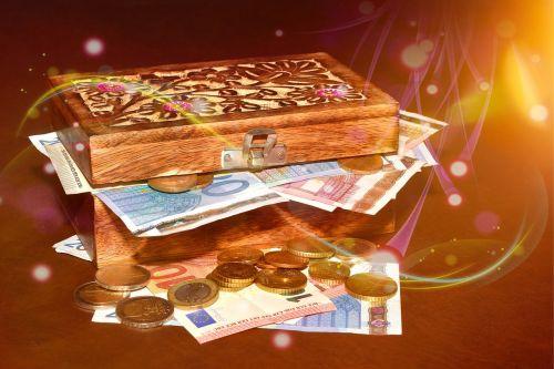 treasure chest money paper money