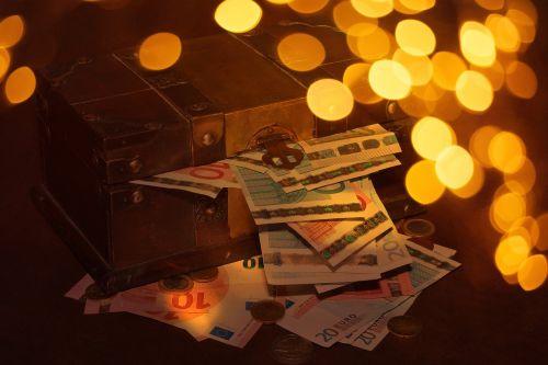 treasure chest money bokeh