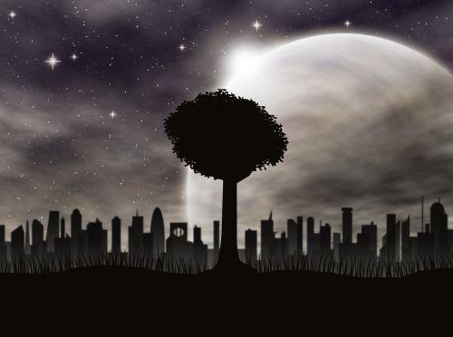 tree starry sky city