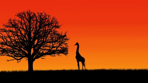 tree giraffe digital painting