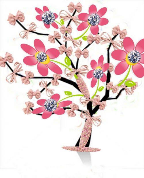 tree flowers laçinhos rosa
