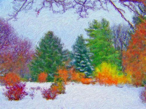medžiai, sniegas, dažymas, menas, Kalėdos, xmas, medžiai sniego tapyboje