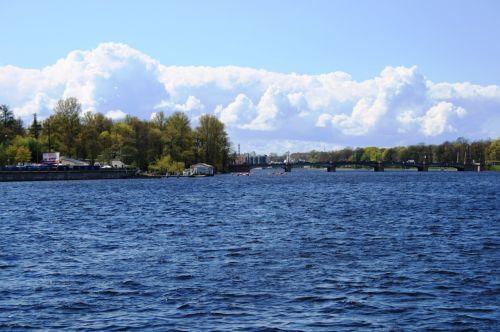 Trees Lining The Neva River