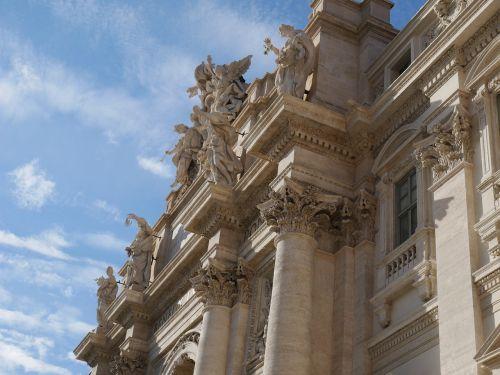 trevi,Roma,trevi fontanas,fontanas,oras,debesys,italy,mėlynas dangus,dangus,paminklas,marmuras,turistai,atrakcionai apima