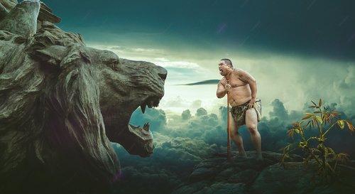 tribal man  lion head  rain