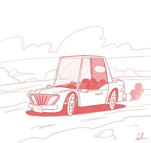 truck sketch caricature