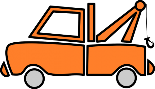 truck orange vehicle