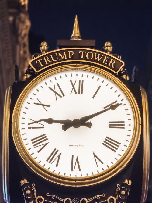 trump tower clock night