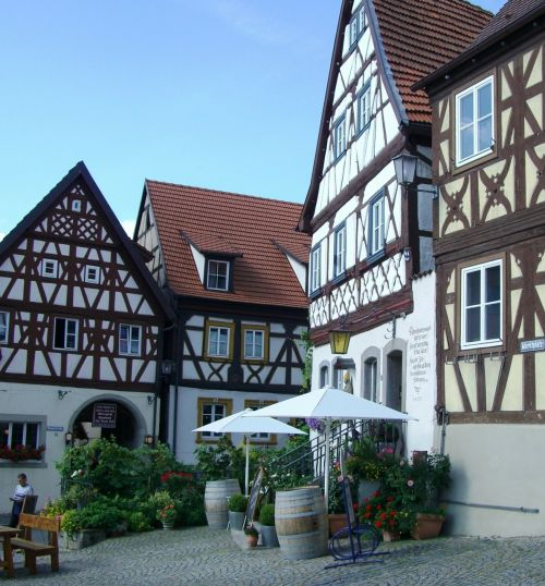 truss row of houses fachwerkhaus