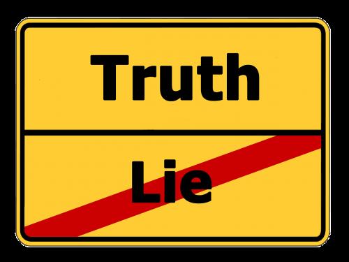 truth lie street sign