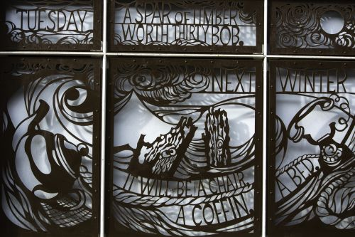 tuesday,wrought-iron,panel,poetry