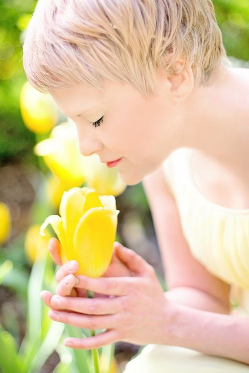 tulpės,geltona,Šviesiaplaukis,gana jauna moteris,pavasaris,gėlė,šviežias