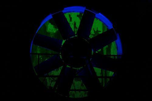 turbine wheel water power night photograph