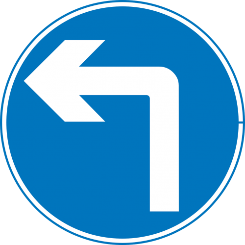 turn left road sign left