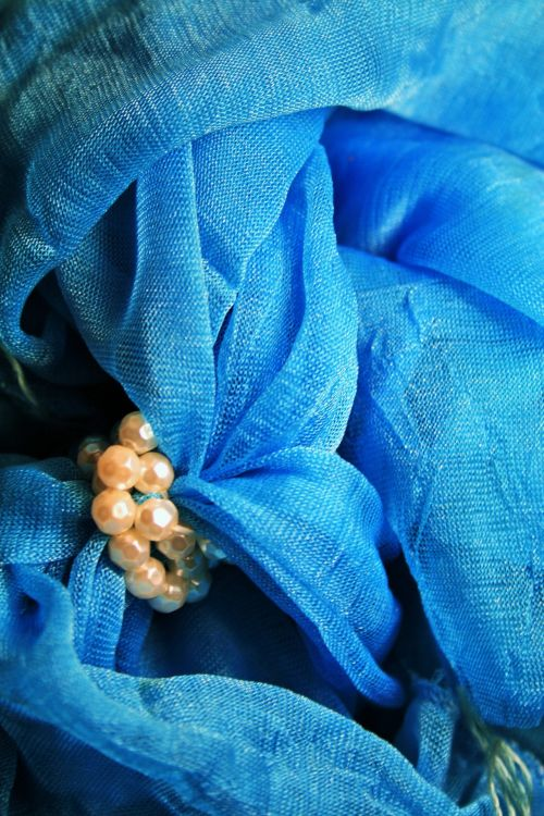 Turquoise Scarf Bundled With Beads
