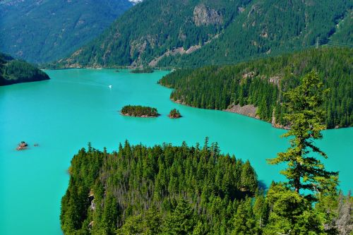 turquoise ross lake water