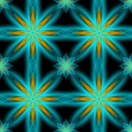 Turquoise Snowflakes Stars Pattern