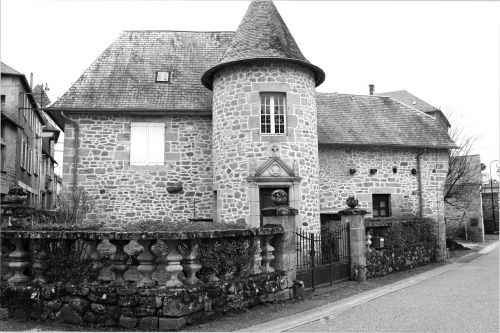 turret stone house black and white