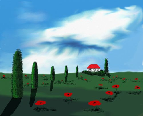 tuscany digital watercolour