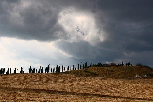 tuscany  italy  thunderstorm