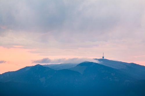 tv tower mountains morning