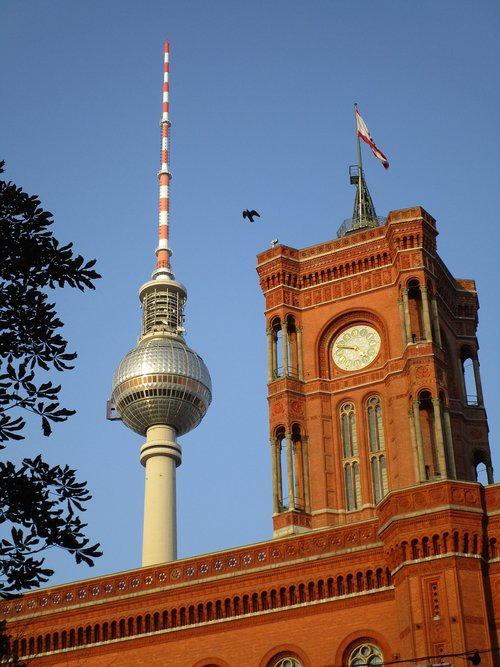 tv tower  red town hall  clock