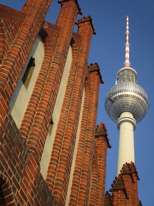 tv tower  st mary's church  berlin